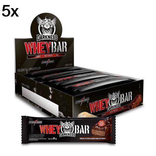 Kit 5X Whey Bar Darkness - 8 Unidades 90g Chocolate Amargo/Castanha - IntegralMédica no Atacado