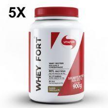 Kit 5X Whey Fort - 900g Chocolate - Vitafor