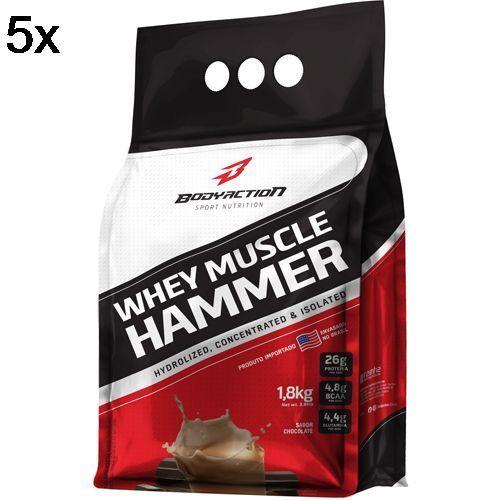 Kit 5X Whey Muscle Hammer - 1800g Chocolate - BodyAction no Atacado