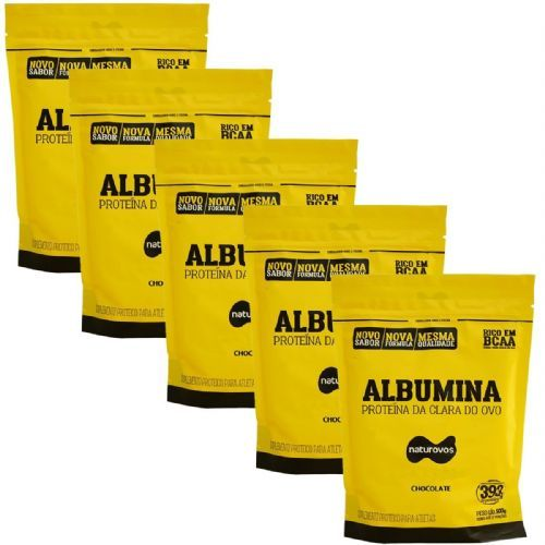 Kit 5X Albumina - 500g Refil Chocolate - Naturovos no Atacado
