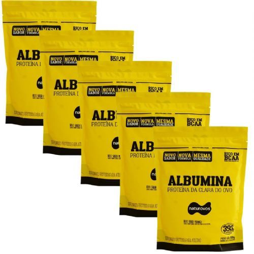 Kit 5X Albumina - 500g Refil Morango - Naturovos no Atacado