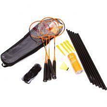 Kit Badminton - 4 Raquetes, 3 Petecas,  Rede e Suporte - Vollo Sports