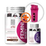Kit Femini Whey Chocolate + BCAA 100 cáps + Coqueteleira Grátis - Max Titanium