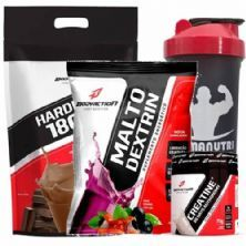 Kit - Hard Mass 3000g Chocolate + Malto Dextrin 1000g Guarana C/ Açaí + Creatine 70g + Coqueteleira - BodyAction