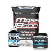 Kit Mass 18500 - 1kg Baunilha + Creatina 100g + Bcaa 50 caps - Body Nutry