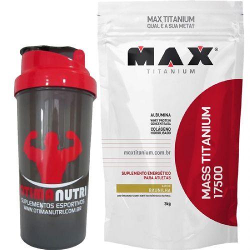 Kit Mass Titanium 17500 - 3000g Baunilha + Coqueteleira - Max Titanium no Atacado