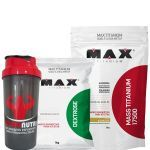 Kit Mass Titanium 17500 - 3000g Baunilha + Dextrose 1000g Natural + Coqueteleira- Max Titanium no Atacado