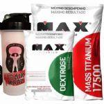 Kit Mass Titanium 17500 - 3000g Leite condensado + Dextrose 1000g Natural + Coqueteleira- Max Titanium no Atacado