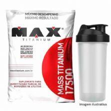 Kit Mass Titanium 17500 - 3000g Morango + Coqueteleira - Max Titanium
