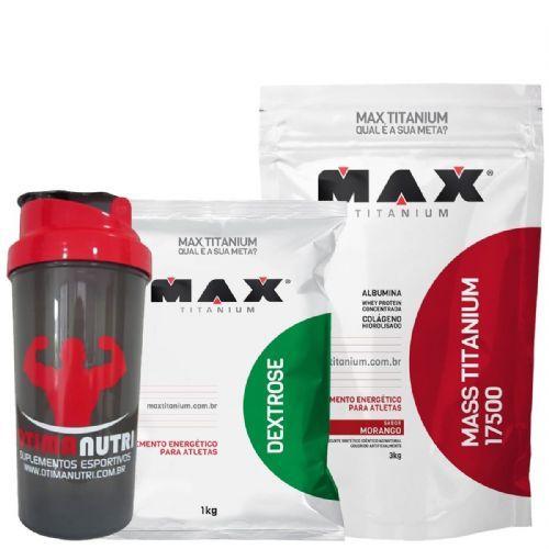 Kit Mass Titanium 17500 - 3000g Morango + Dextrose 1000g Natural + Coqueteleira- Max Titanium no Atacado
