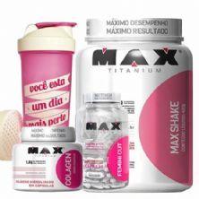 Kit Max Shake 400g Chocolate + Colagen 100 Cápsulas + Femini Cut 30 Cápsulas + Coqueteleira - Max Titanium
