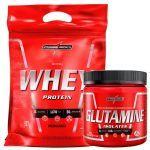 Kit Nutri Whey Morango + Glutamine 300g - IntegralMédica