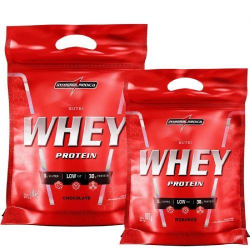 Kit Nutri Whey Protein - Chocolate 1800g Refil + Nutri Whey Morango 907g Refil - Integralmédica no Atacado