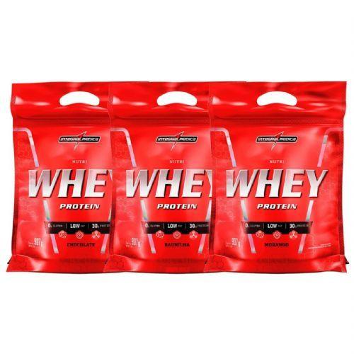 Kit Nutri Whey Protein - Refil Chocolate, Baunilha, Morango 907g - Integralmédica no Atacado