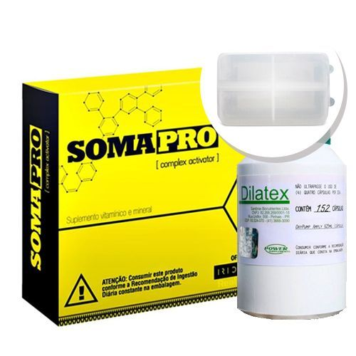 Kit Somapro - 60 Cápsulas + Dilatex - 152 Cápsulas - Power Supplements + Porta cápsulas no Atacado