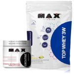 Kit Top Whey 3W - 1800g Refil Baunilha + Creatina - 300g - Max Titanium no Atacado
