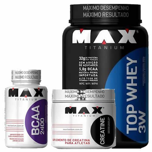 kit Top Whey 3W 900g Choco + BCAA 2400 100 caps + Creatina 150g - Max Titanium