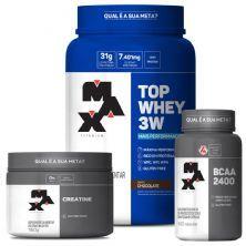kit Top Whey 3W 900g Choco + BCAA 2400 100 caps + Creatina 150g - Max Titanium