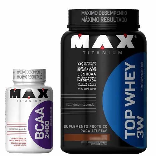 Kit Top Whey 3W 900g Choco + BCAA 2400 100 caps - Max Titanium