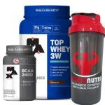 Kit Top Whey 3W - 900g Chocolate + BCAA 2400 - 60 Cáps + Coqueteleira - Max Titanium no Atacado