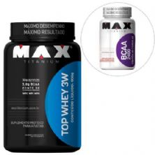 Kit Top Whey 3W - 900g Chocolate + BCAA 2400 - 60 Cáps - Max Titanium