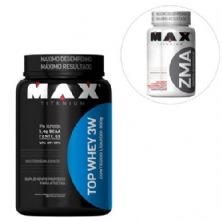 Kit Top Whey 3W - 900g Chocolate + ZMA 90 cáps - Max Titanium