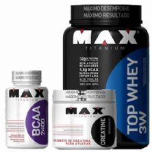 kit Top Whey 3W 900g Mor + BCAA 2400 100 caps + Creatina 150g - Max Titanium