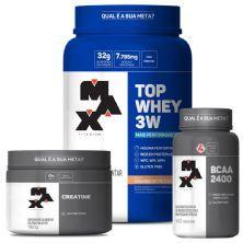 kit Top Whey 3W 900g Vit. + BCAA 2400 100 caps + Creatina 150g - Max Titanium