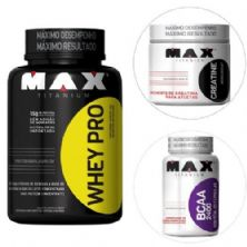 Kit Whey Pro - 1000g Chocolate + Creatina 150g + BCAA 2400 60 Cáps- Max Titanium