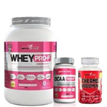 Kit Whey Pro-F Morango + BCAA + Thermo Abdomen BodyAction