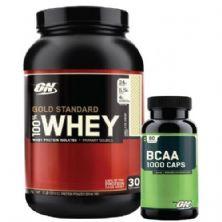 Kit Whey Protein 100% Gold Standard - 909g Baunilha + BCAA 1000 - Optimum Nutrition