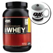 Kit Whey Protein 100% Gold Standard 909g Baunilha + Caneca - Optimum Nutrition