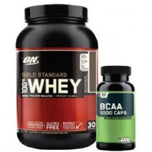 Kit Whey Protein 100% Gold Standard - 909g Doce de Leite + BCAA 1000  - Optimum Nutrition