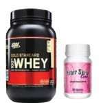 Kit Whey Protein 100% Gold Standard - 909g Doce de Leite + Hair Skin Care - Intlab