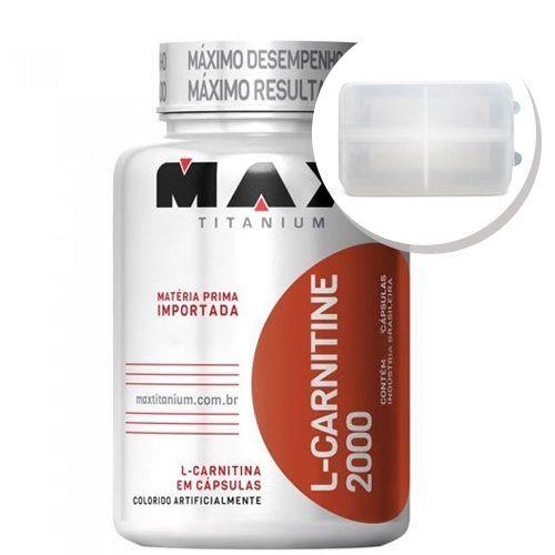 L-Carnitine 2000 - 60 cápsulas + Porta Cápsulas transparente - Max Titanium no Atacado