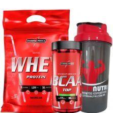 Nutri Whey Protein Refil 907g Baunilha + Amino BCAA TOP 120 caps + Coqueteleira 600ml - Integralmédica