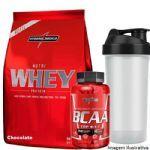 Nutri Whey Protein Refil 907g Choco + Amino BCAA TOP 120 caps + Coqueteleira 600ml - Integralmédica