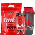 Nutri Whey Protein Refil 907g Choco + Amino BCAA TOP 120 caps + Coqueteleira 600ml - Integralmédica no Atacado