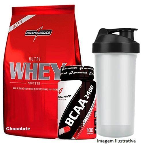 1c2f1688b Nutri Whey Protein Refil 907g Chocolate + BCAA 2400 - 100 caps +  Coqueteleira 600ml ...