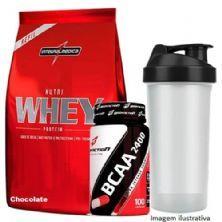 Nutri Whey Protein Refil 907g Chocolate + BCAA 2400 - 100 caps + Coqueteleira 600ml - Integralmédica