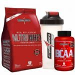 Nutri Whey Protein Refil 907g Morango + Amino BCAA TOP 120 caps + Coqueteleira 600ml - Integralmédica