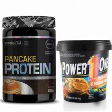 Pancake Protein 600g Natural + Pasta de Amendoim Integral 1000g - Power One
