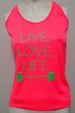 Regata Feminina LIVE, LOVE, LIFT - Pink Neon Tamanho G