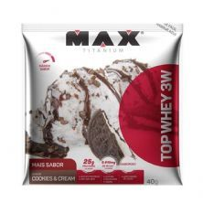 Top Whey 3W - 10 Sachês 40g Cookies & Cream - Max Titanium*** Data Venc. 13/10/2020