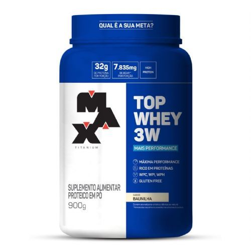 Top Whey 3W Mais Performance - 900g Baunilha - Max Titanium no Atacado