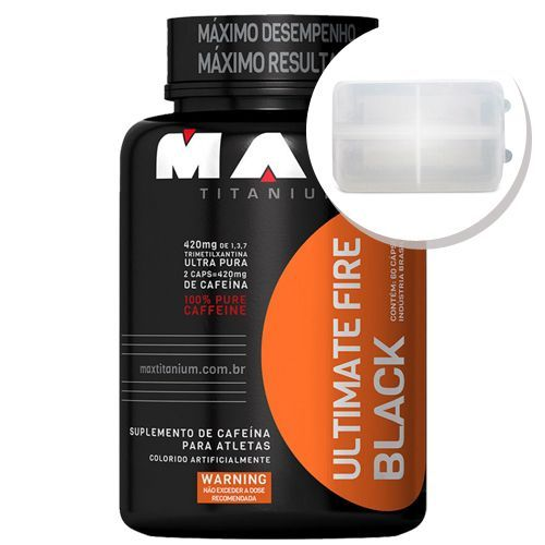 Ultimate Fire Black - 60 cápsulas + Porta Cápsulas transparente - Max Titanium