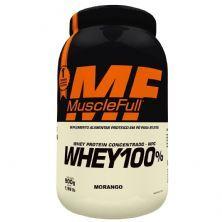 Whey 100% Concentrado - 900g Morango - MuscleFull