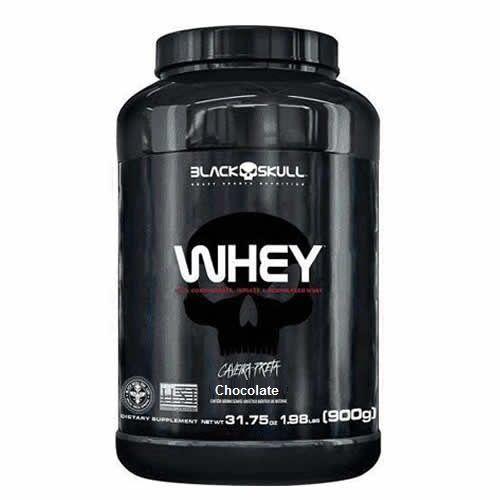 Whey 100% Concentrado Isolado Hidrolisado - 900g Chocolate - Black Skull no Atacado