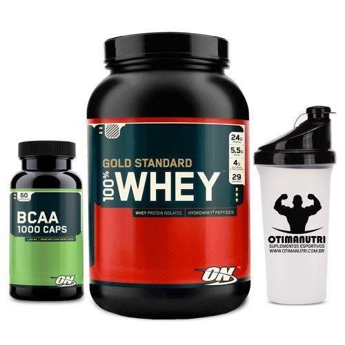 31c376a96 Whey 100% Gold Standard 900g + BCAA 60 caps + Coqueteleira - Optimum  Nutrition ...