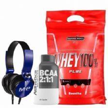 Whey 100% Pure - 907g Baunilha + Bcaa 60 Cápsulas + Fone de Ouvido Azul - MHP